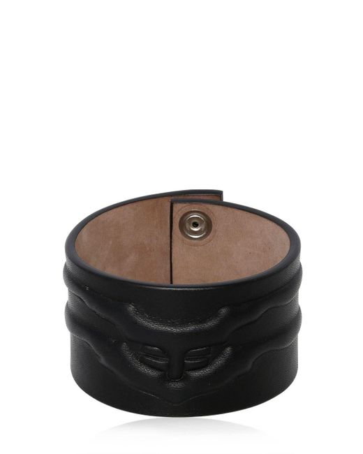Alexander McQueen - Black Rib Cage Leather Bracelet for Men - Lyst