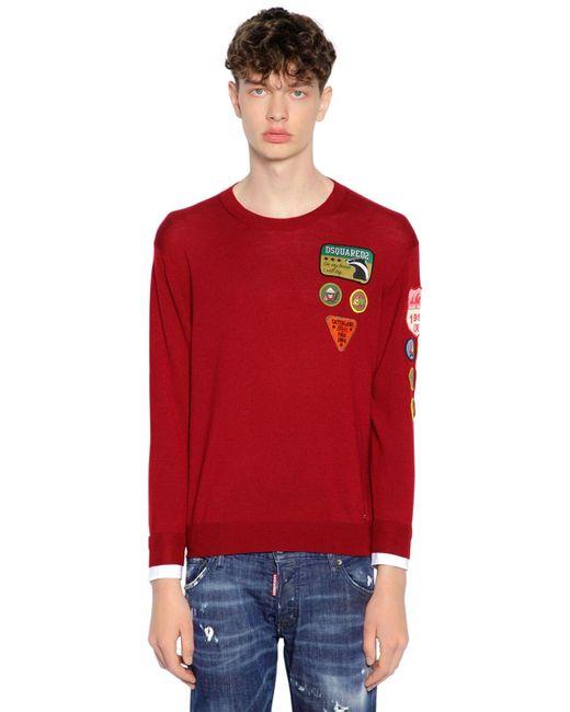 メンズ DSquared² ウールニットセーター Red