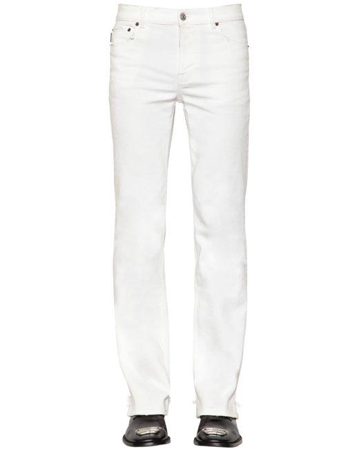 メンズ Balenciaga ディストレスドスリムフィットストレッチパンツ White