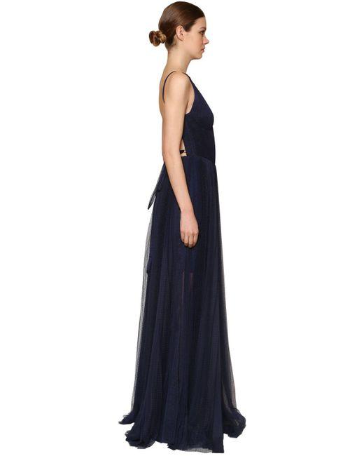 Maria Lucia Hohan ポルカドットチュール ロングプリーツドレス Blue