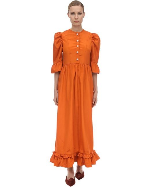 BATSHEVA フリルモワレミディドレス Orange