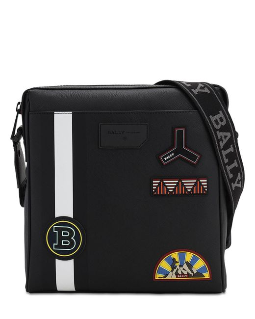 Bally Black Rubberized Messenger Bag W/ Pvc Patches for men