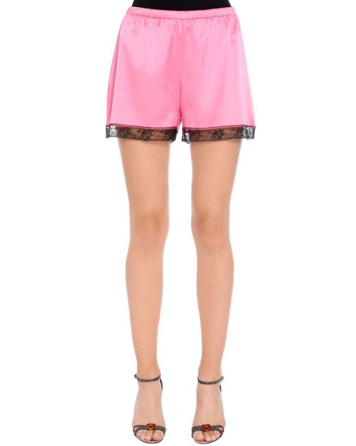 Dolce & Gabbana - Pink Silk Satin Lingerie Shorts With Lace - Lyst
