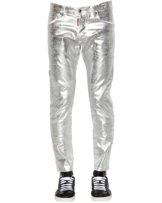メンズ DSquared² Skater メタリックワックスドデニムジーンズ 16cm Gray
