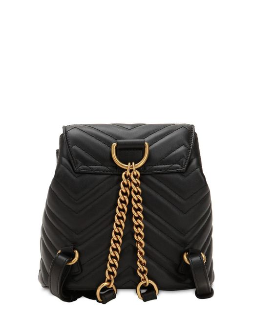 274dce36e78c ... Gucci - Black Mini Gg Marmont Leather Backpack - Lyst ...