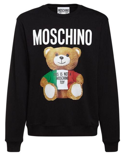 メンズ Moschino Tricolor Teddy コットンスウェットシャツ Black
