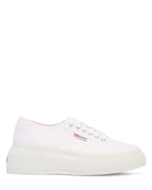 Кроссовки Из Канвас На Платформе 50mm Superga, цвет: White