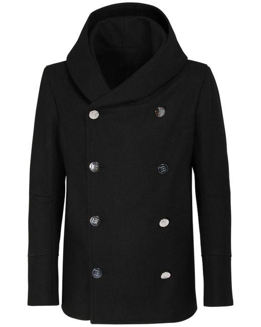 Полушерстяное Пальто С Капюшоном Balmain для него, цвет: Black