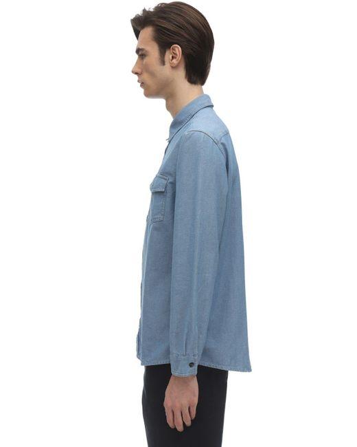 メンズ A.P.C. Michel コットンシャンブレーシャツ Blue