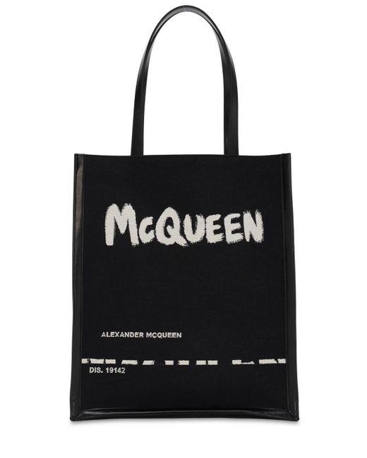 メンズ Alexander McQueen キャンバス&レザートートバッグ Black