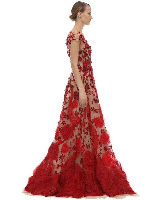 Marchesa Red Embellished Tulle & Silk Organza Dress