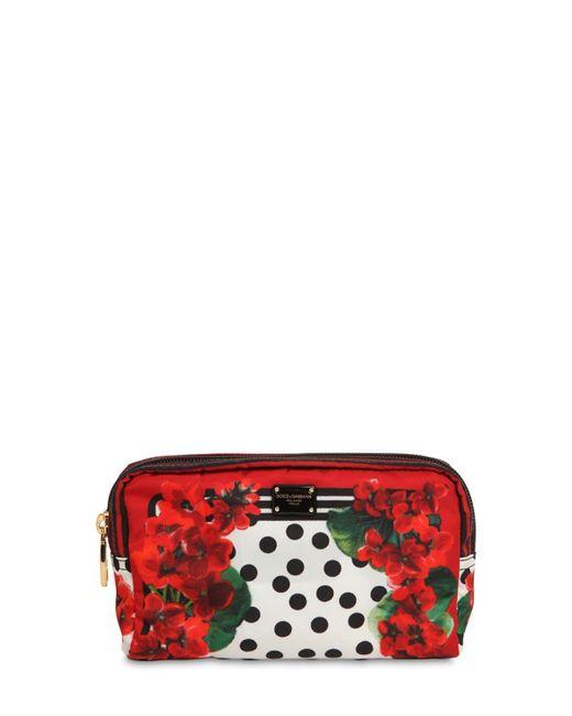 Dolce & Gabbana ゼラニウムプリント ナイロンコスメポーチ Red