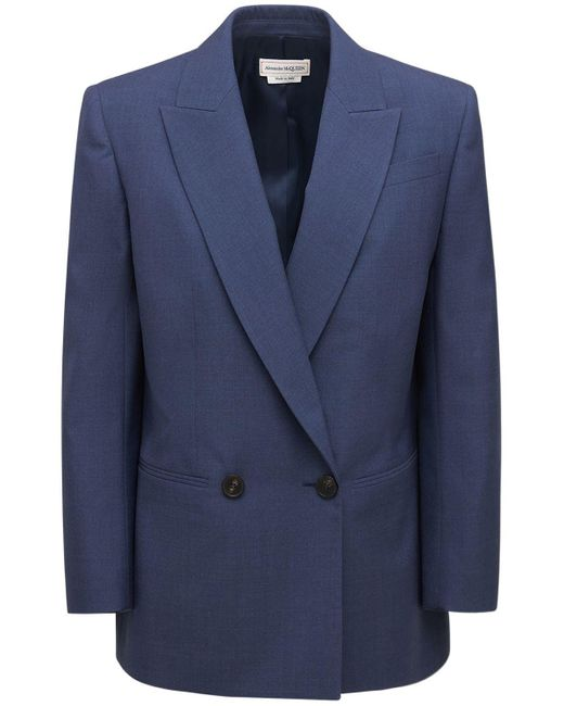 Alexander McQueen ウールテーラリングジャケット Blue