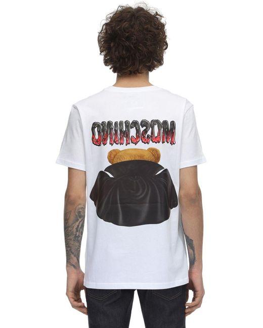 メンズ Moschino Teddy Bearプリントコットンtシャツ White
