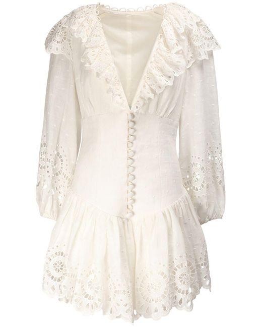 Платье Мини Bellitude С Кружевными Оборками Zimmermann, цвет: White