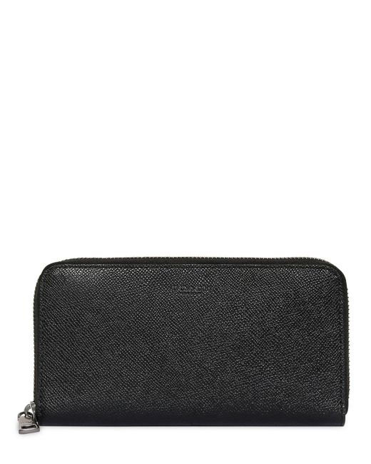 COACH | Black Pebbled Leather Round Zip Wallet | Lyst