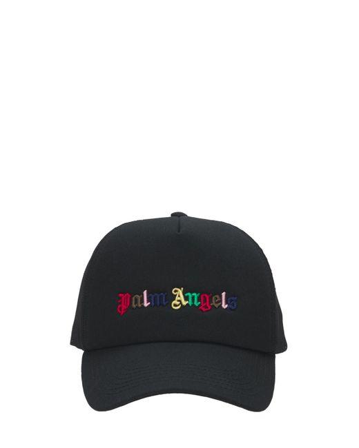 メンズ Palm Angels Rainbow コットンキャンバスキャップ Black