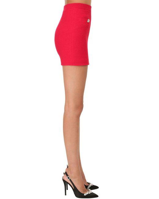 Alessandra Rich ツイードボタンミニスカート Red