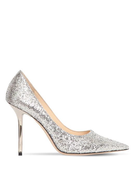 Jimmy Choo Love グリッターパンプス 100mm Metallic