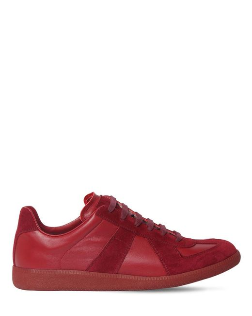 Maison Margiela Black Replica Leather & Suede Low Top Sneakers for men