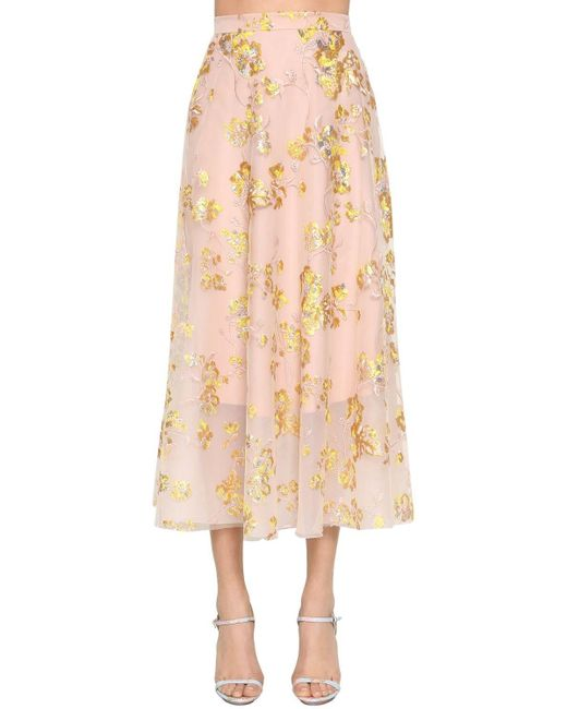Delpozo 刺繍ミディスカート Multicolor