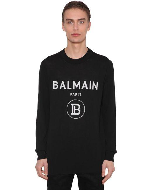 メンズ Balmain バージンウールニットセーター Black