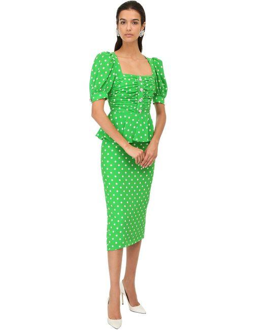 Alessandra Rich シルククレープドレス Green