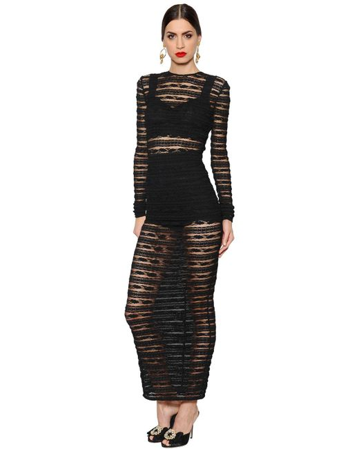 Dolce & Gabbana - Black See-through Stripes Lace Stretch Dress - Lyst