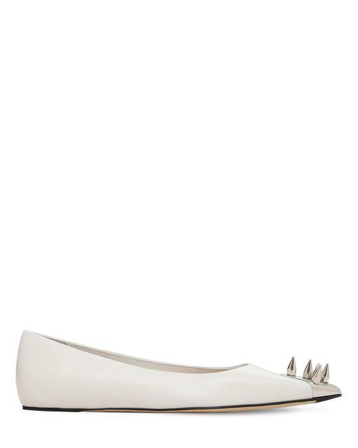 Alexander McQueen レザーバレリーナ 10mm White