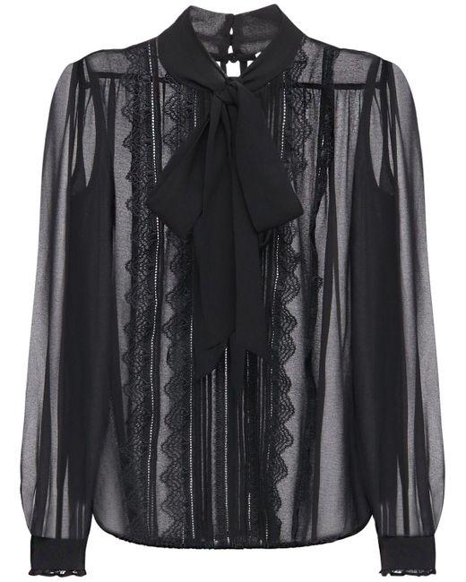 Прозрачная Блузка Из Шифона Self-Portrait, цвет: Black