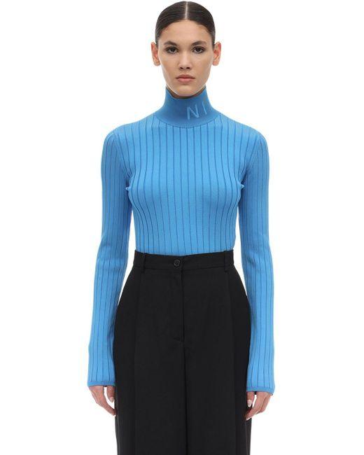 Nina Ricci ビスコースタートルネックセーター Blue