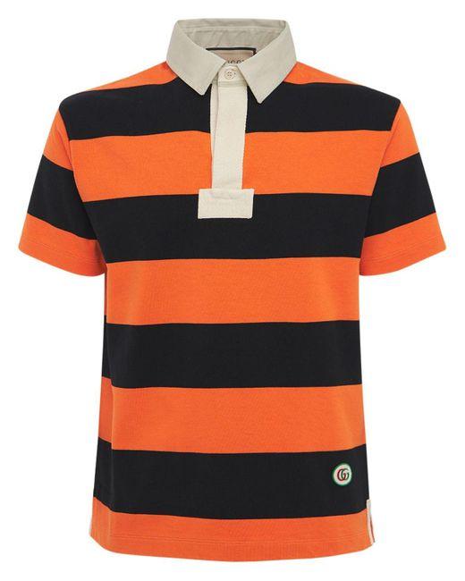 メンズ Gucci グッチパッチ付き ストライプ コットン ポロシャツ Orange