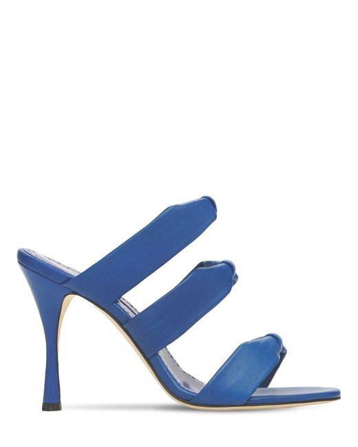 Кожаные Туфли-мюли Gyrica 105mm Manolo Blahnik, цвет: Blue