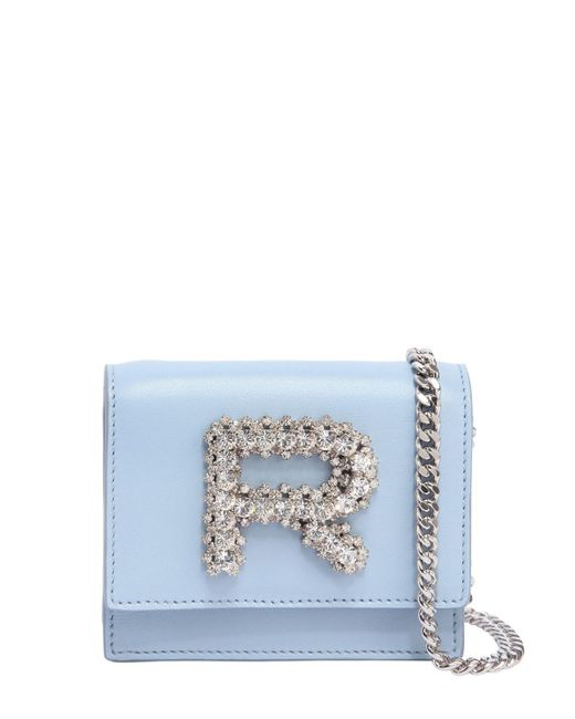 Rochas - Blue Leather Bag W/ Crystal Logo - Lyst