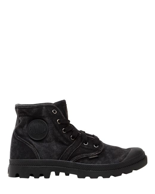 Palladium | Black Pallabrouse Washed Canvas Mid Boots for Men | Lyst