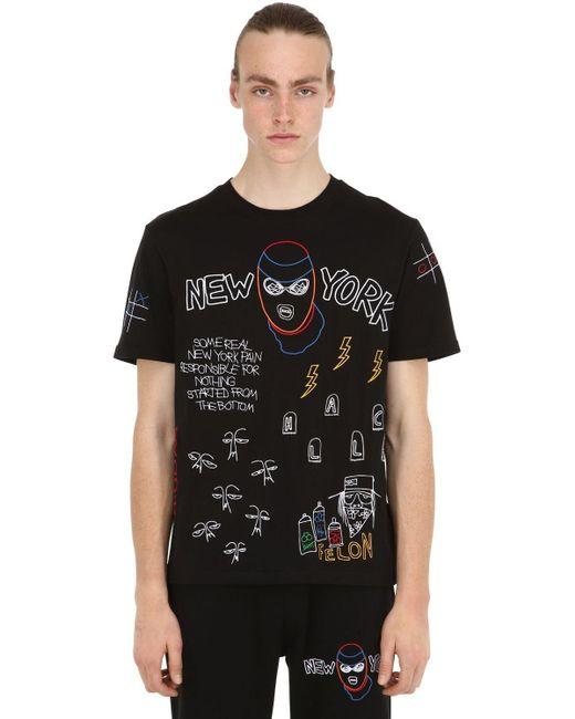 メンズ Haculla Nocturnal コットンジャージーtシャツ Black
