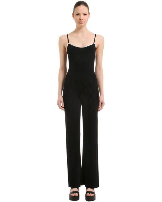 Sonia Rykiel | Black Wool Rib Knit Jumpsuit | Lyst