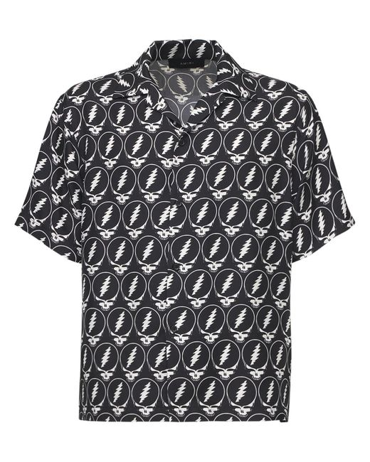 Рубашка Из Шелка С Принтом Amiri для него, цвет: Black
