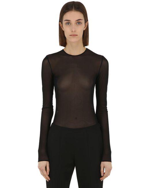 Body De Tul Stretch Transparente Maison Margiela de color Black
