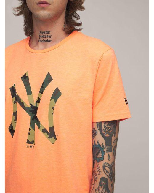 KTZ Orange Mlb Seasonal Ny Yankees Logo T-shirt for men