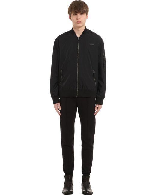 fila zip up jacket. fila | black logo printed zip-up track jacket for men lyst zip up