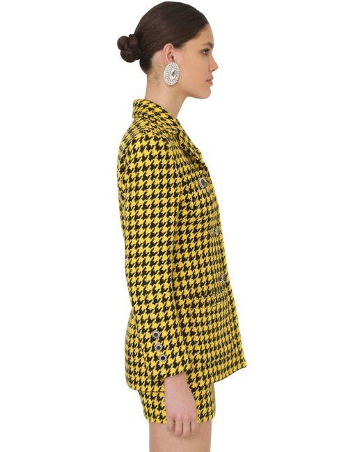 Alessandra Rich Yellow Jacke Aus Tweed Aus Einer Wollmischung Mit Hahnentrittmuster