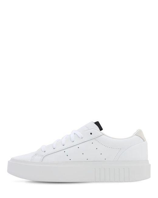 Adidas Originals Sleek Super レザースニーカー White