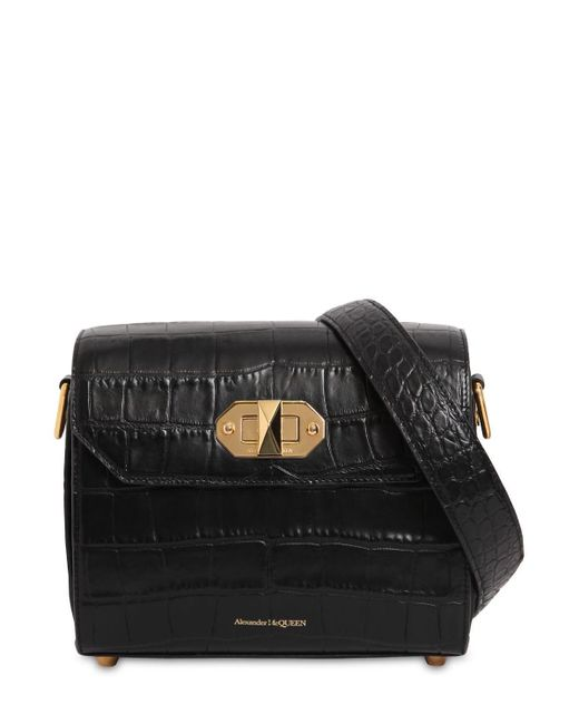 Alexander McQueen 21.5 Box Bag クロコダイル柄エンボスレザーバッグ Black