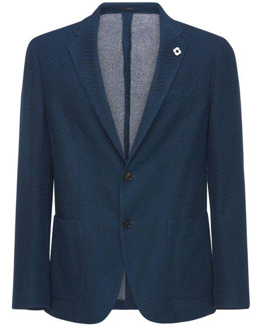 Полухлопковый Пиджак Lardini для него, цвет: Blue