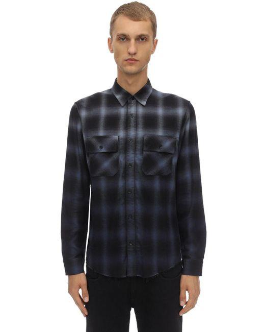 メンズ Amiri ウール シェードチェックシャツ Blue