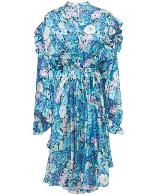 Balenciaga Floral サテンフリルドレス Blue