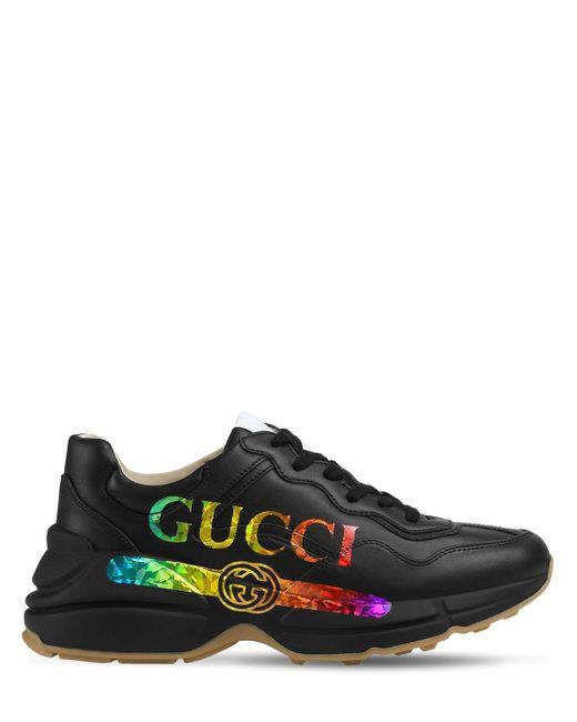 """Кроссовки Из Кожи """"rhyton"""" 50мм Gucci, цвет: Black"""