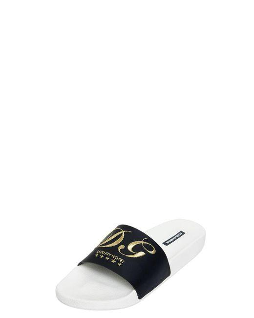 Dolce & GabbanaDG EMBROIDERY RUBBER SLIDE SANDALS