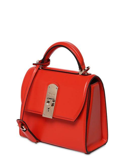 Ferragamo Boxyz レザートップハンドルバッグ Red
